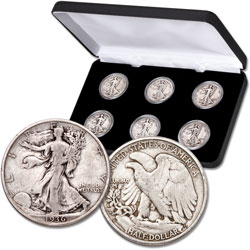 1935-1936 PDS Liberty Walking Half Dollar Set (6 coins) with Display Case