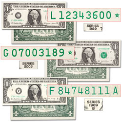 1969B-2003 $1 Federal Reserve Note Set (3 notes) with Special Serial Numbers