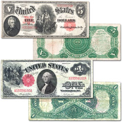 1907-1917 $1 & $5 Legal Tender Note Set (2 notes)