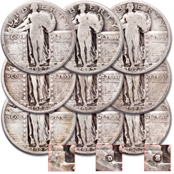 1927-1929 PDS Standing Liberty Quarter Set (9 coins)