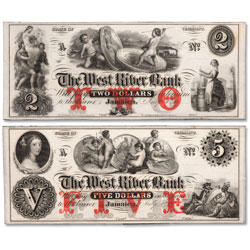 1850s-1860s $2 & $5 West River Bank Note Set
