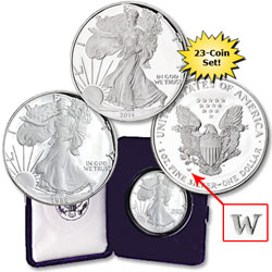 1986-2014 American Eagle Silver Dollar Set (23 coins)