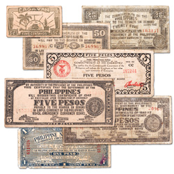 1941-1944 World War II Philippine Guerrilla Note Set (7 notes)