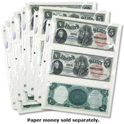 Five 3-Pocket SuperSafe Currency Pages (for large-size notes)