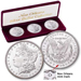 3-Coin Set of New Orleans Morgan Silver Dollars, Uncirculated, MS60