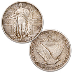 1917-D Standing Liberty Silver Quarter, Type 1