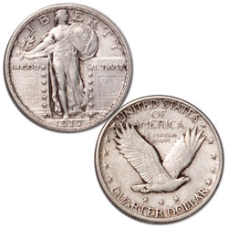 1917-D Standing Liberty Silver Quarter, Type 2