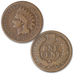 1875 Indian Head Cent, Variety 3, Bronze