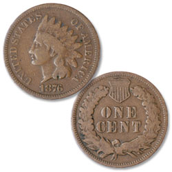 1876 Indian Head Cent, Variety 3, Bronze