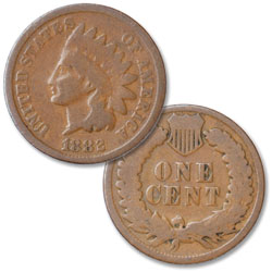 1882 Indian Head Cent, Variety 3, Bronze