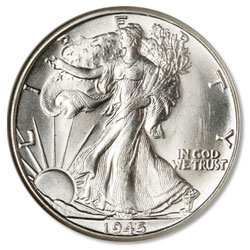 1945-D Liberty Walking Silver Half Dollar