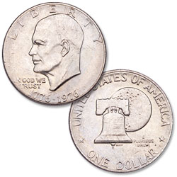 1976 Eisenhower Dollar, Copper-Nickel Clad, Variety 2