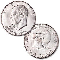 1976-D Eisenhower Dollar, Copper-Nickel Clad, Variety 1