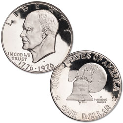 1976-S Eisenhower Dollar, Copper-Nickel Clad Proof, Variety 1