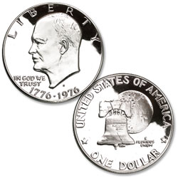 1976-S Eisenhower Dollar, Silver Clad Proof, Variety 1