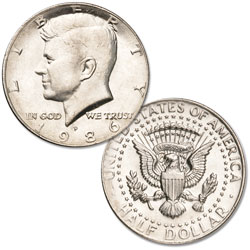 1986-P Kennedy Half Dollar, Uncirculated, MS60
