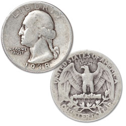1938 Washington Silver Quarter