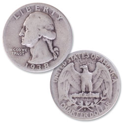 1938-S Washington Silver Quarter