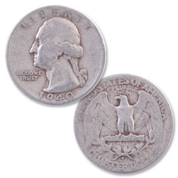 1940-S Washington Silver Quarter
