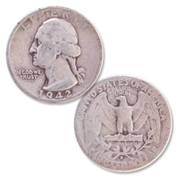 1942-D Washington Silver Quarter