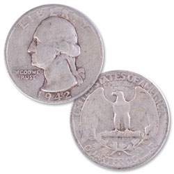 1942-S Washington Silver Quarter