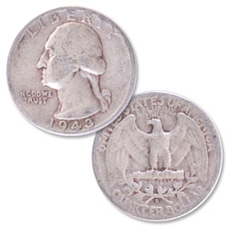 1943-D Washington Silver Quarter
