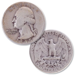 1945-D Washington Silver Quarter