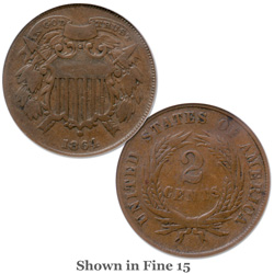 1864 Two-Cent Piece, Small Motto