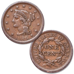 1856 Braided Hair Large Cent, Upright 5