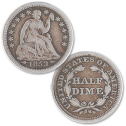 1853 Liberty Seated Silver Half Dime, Arrows