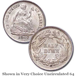 1867-S Liberty Seated Silver Half Dime