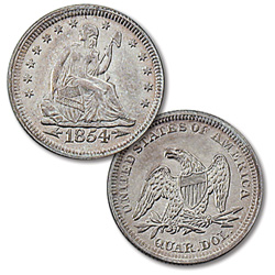 1854 Liberty Seated Silver Quarter, Arrows