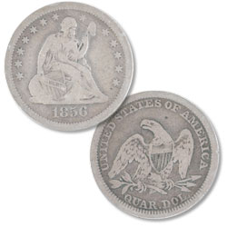 1856 Liberty Seated Silver Quarter