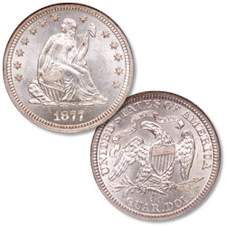 1877-CC Liberty Seated Silver Quarter