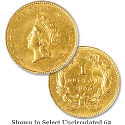 1855 Gold Indian Head, Small Head, Type 2