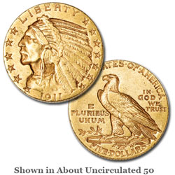 1911-S Indian Head $5 Gold