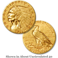 1911 Indian Head Gold Quarter Eagle
