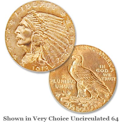 1913 Indian Head Gold $2.50 Quarter Eagle