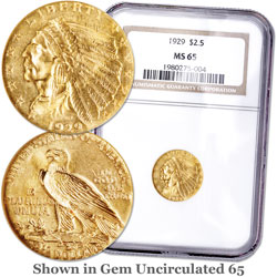 1929 Indian Head Gold $2.50 Quarter Eagle