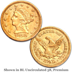1850-C $2.50 Liberty Head Gold Quarter Eagle