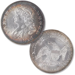 1824 Capped Bust Half Dollar, Normal Date