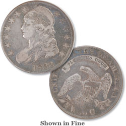 1833 Capped Bust Silver Half Dollar, Lettered Edge