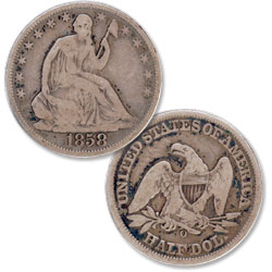 1858-O Liberty Seated Half Dollar
