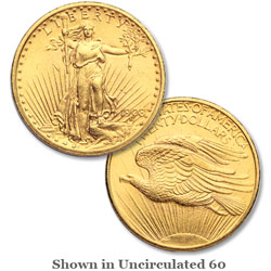1908 Saint-Gaudens $20 Gold Piece, No Motto