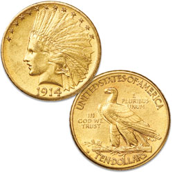 1914-D Indian Head $10 gold