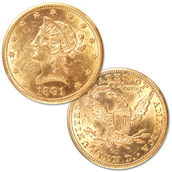 1891-CC $10 Liberty Head Gold Eagle