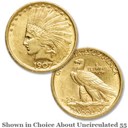 1907 Indian Head $10 Gold Eagle, No Period