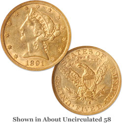 1891-CC $5 Liberty Head Gold Half Eagle