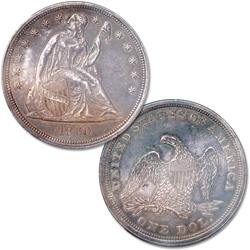 1860 Liberty Seated Silver Dollar, No Motto