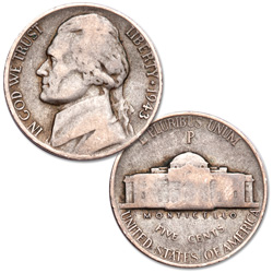 1943-P Jefferson Wartime Silver Alloy Nickel